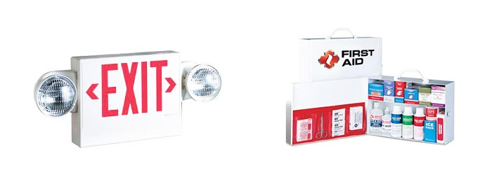 All Safe Global emergency lights first aid cabinets