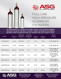 ASG High Pressure Aluminum Cylinder Spec Sheet