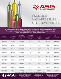 ASG High Pressure Steel Cylinder Spec Sheet